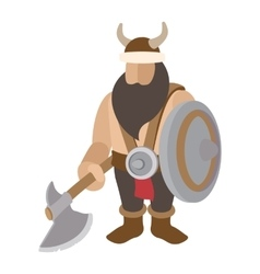 Viking stand with shield character vector