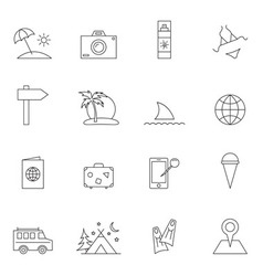 Travel icon set outline vector