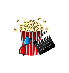 Pop corn film production film board and 3d vector