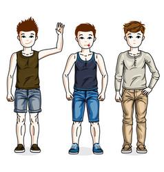 Little boys cute children standing wearing vector