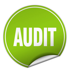 Audit round green sticker isolated on white vector