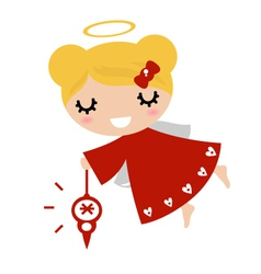 Adorable angel girl with xmas decoration - red vector