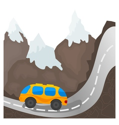 Cartoon bus on a mountain road vector