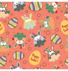 Seamless pattern with easter eggs and bunnies vector