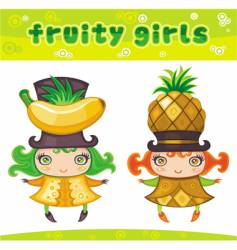 Fruity girls series 4 banana pineapple vector