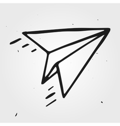 Paper airplane isolated hand drawn vector