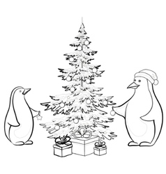 Penguins and christmas vector