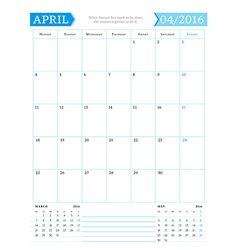 April 2016 monthly calendar planner for 2016 year vector