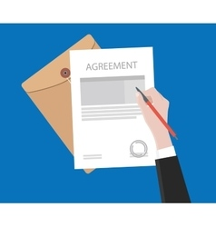 Sign agreement contract on paper document with vector