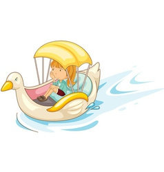 Girl on a boat vector image