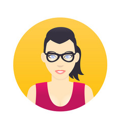 Avatar icon cartoon girl in glasses in flat style vector