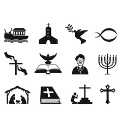 Black christian religious icons set vector