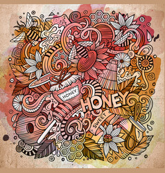 cartoon cute doodles honey vector image