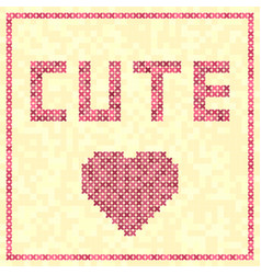 Cross-stitched rose heart cute title vector