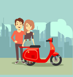 cute cartoon young lovers and bike on city vector image vector image