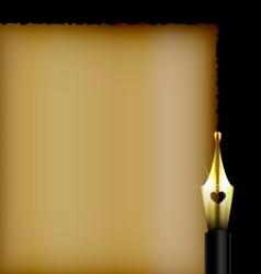dark old paper and golden pen vector image