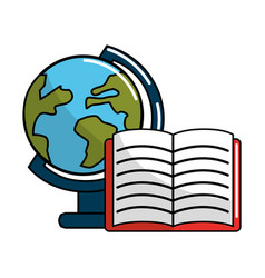 Earth planet desk and notebook icon vector