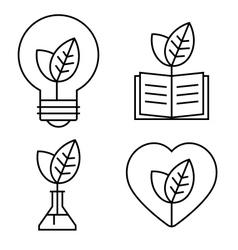 Ecology thin set vector image