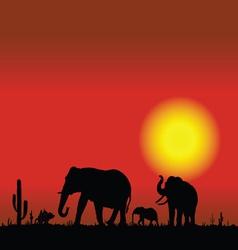Elephant family in desert black silhouette vector