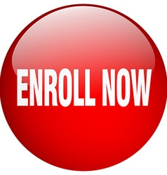 Enroll now red round gel isolated push button vector