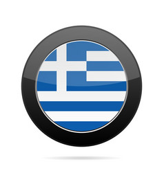 Flag of greece shiny black round button vector
