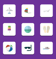 Flat icon beach set of scuba diving surfing boat vector