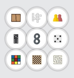 Flat icon games set of guess dice cube and other vector