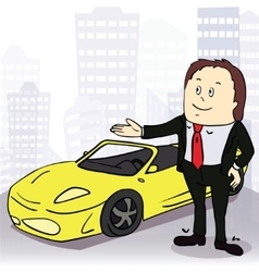 Man and comfortable car in big city vector