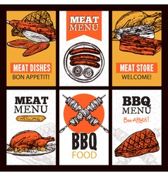 Meat dishes vertical banners vector