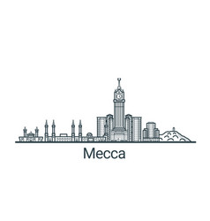 Outline mecca banner vector