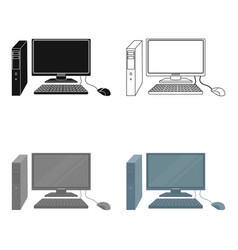 Personal computer icon in cartoon style isolated vector
