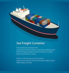 Poster isometric container ship vector