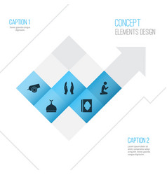 Religion icons set collection of mosque cannon vector