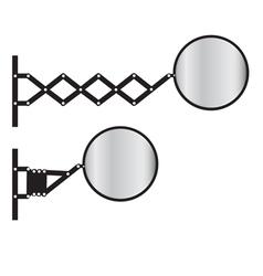 Retractable wall mirror vector