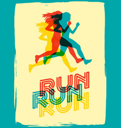 running woman poster vector image