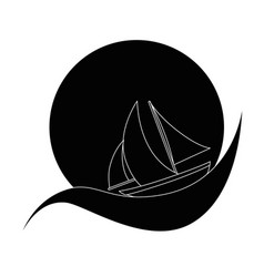 Sailboat ship isolated vector
