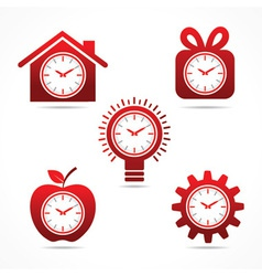set of clock in different shapes vector image