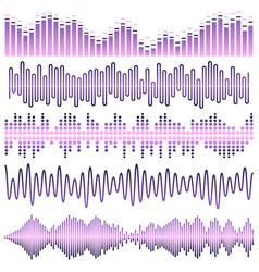 set of violet sound waves vector image vector image