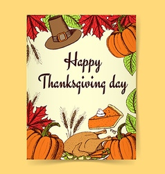 Sketch Thanksgiving poster vector image vector image