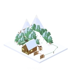 Ski resort mountain landscapes isometric vector