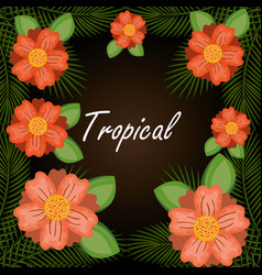 Tropical flowers garden background vector
