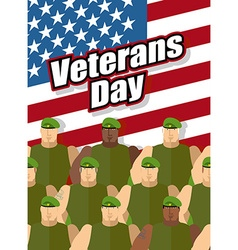 Veterans day american soldiers are on background vector