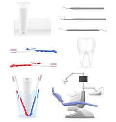 Working set dental icons vector