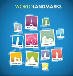 world landmarks blue vector image vector image