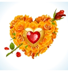 Yellow roses in the shape of heart vector