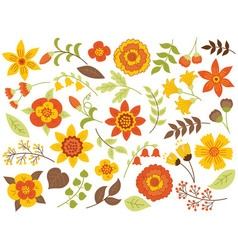 Autumn floral set vector