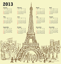 Vintage hand drawn of eifel tower 2013 calendar vector