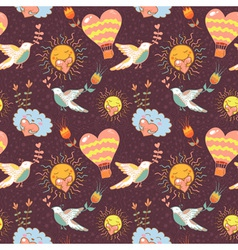 Bright cartoon romantic seamless pattern vector image