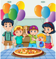 kids eating pizza at party vector image