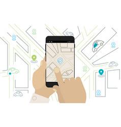 Mobile car sharing navigation location app vector